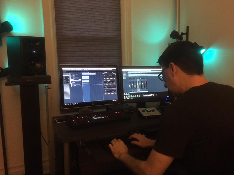 Eric Eldredge in the Interface Studio working on a track.