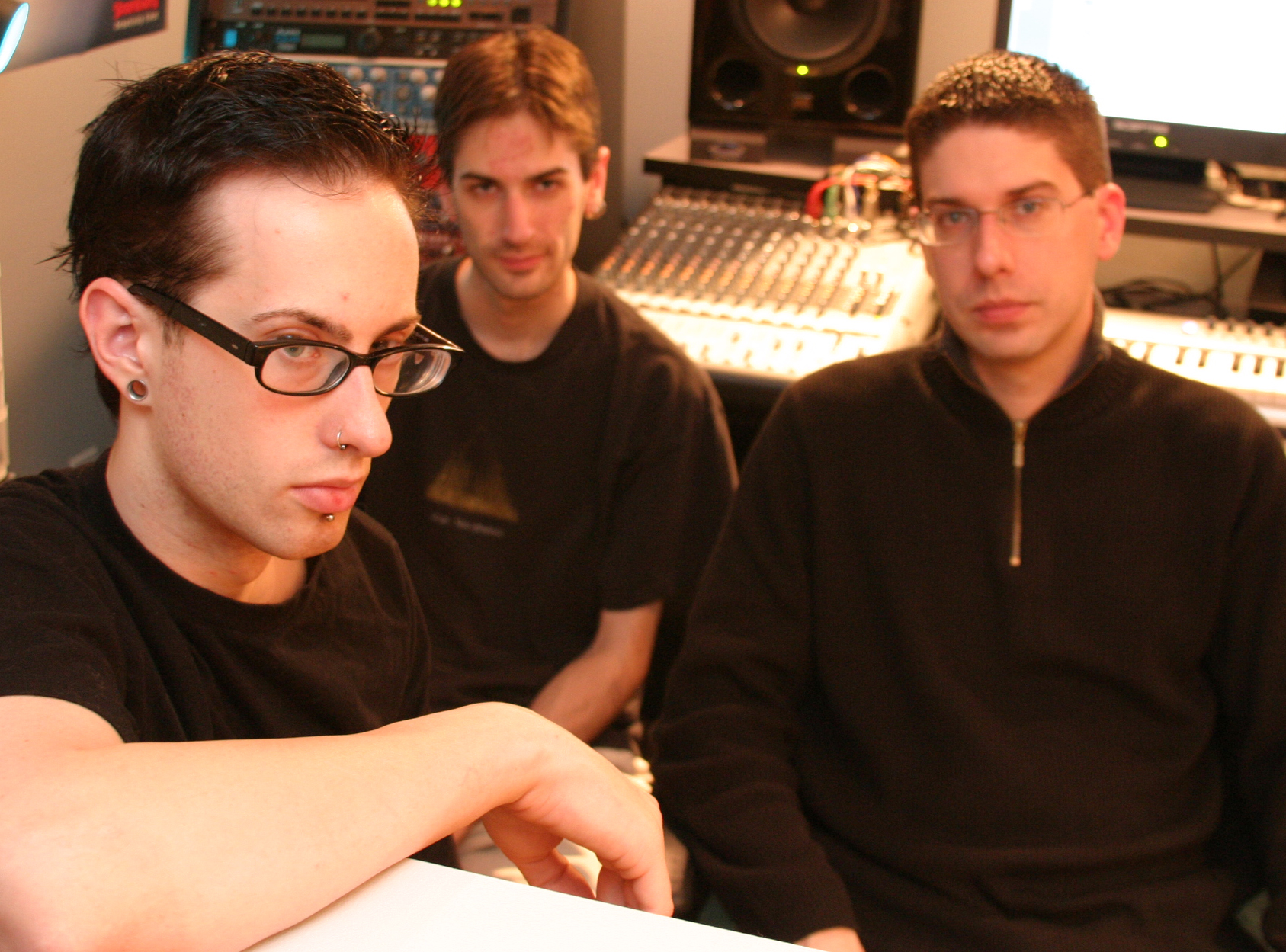 Jon, Evan, and Eric during the Beyond Humanity sessions, 2005. (Michelle Lee)